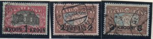 Estonia Sc 105-07 1930 Overprinted Theatre & Map stamp set used