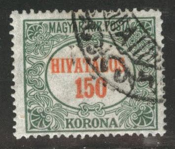 Hungary Scott o15 Used from 1921-1923 Official set