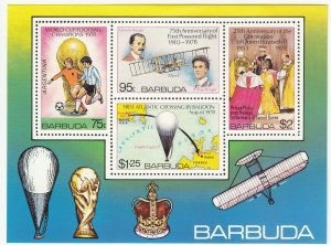 Barbuda; Aviation, Football, Coronation World Cup Sheetlet, 1978, MNH