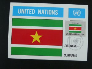 national flag of Suriname maximum card United Nations UNO 1980