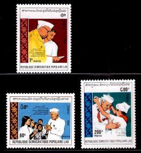 LAOS Scott 946-948 MNH** 1989 Nehru Indian Statesman set CV $4.85