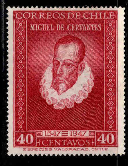 Chile Scott 250 MH Cervantes Stamp Pencil Mark On Back