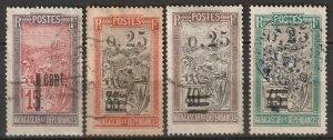 Madagascar 1921 Sc 130-1,133-4 partial set used