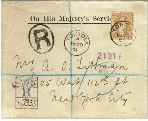 Virgin Islands 1901 registered cover to the U.S., 1/- single franking, SG 49