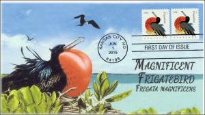 SC 4994, 2015, Coastal Birds, Magnificent Frigatebird, FDC, BW, 15-173