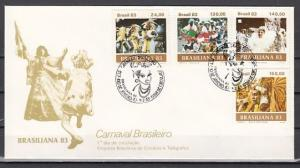 Brazil, Scott cat. 1841-1844. Carnival issue. Musicians shown. First day cover.^