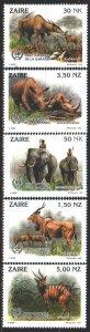 Kinshasa. 1993. 1079-83. African fauna, rhino. MNH.