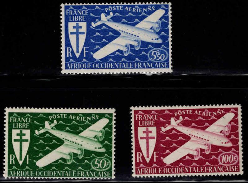 French West Africa Scott C1-3 MH* AOF Airmail stamp set