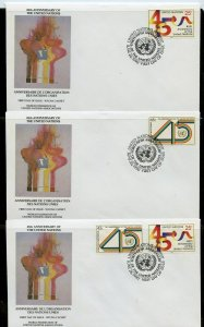 UN 1990 45th ANNIVERSARY  WFUNA CACHET BY ROBERT PEAK  ON 10 FIRST DAY COVERS