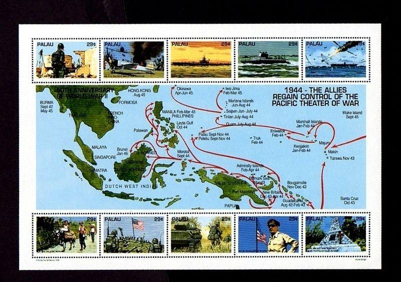 PALAU - 1994 - WW II - PACIFIC THEATER - AIRCRAFT - SHIP - TANK ++ MINT SHEET!