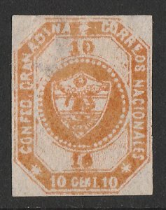 COLOMBIA : 1859 Arms 10c brown-orange, imperf 1st issue.