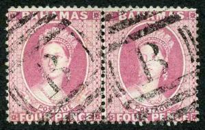 Bahamas SG43 1882 4d Rose Perf 14 wmk CA one stamp other Sheet Marginal Lines