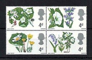 4d FLOWERS (NON-PHOSPHOR) UNMOUNTED MINT BLOCK REDDISH PURPLE OMITTED Cat £1750