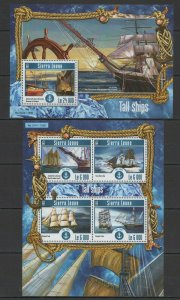 ST596 2015 SIERRA LEONE TRANSPORT TALL SAILING SHIPS KB+BL MNH STAMPS