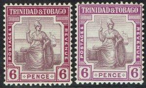 TRINIDAD AND TOBAGO 1913 BRITANNIA 6D 2 SHADES WMK MULTI CROWN CA
