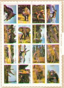 Umm Al Qiwain Sheetlet of 16 MNH  Animals Various