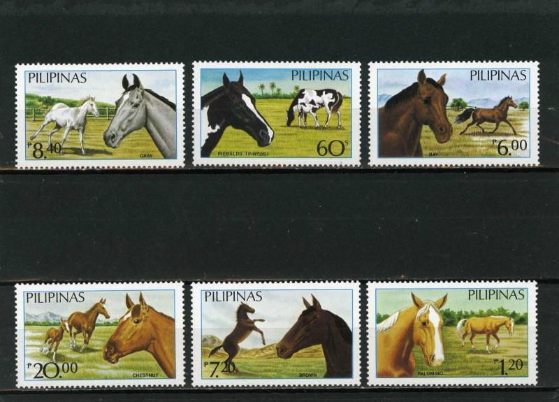 PHILIPPINES 1984 Sc#1747A-1747F FAUNA/HORSES SET OF 6 STAMPS MNH