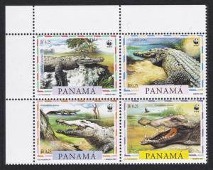 Panama WWF American Crocodile 4v Top Left Corner Block of 4 SG#1590-1593