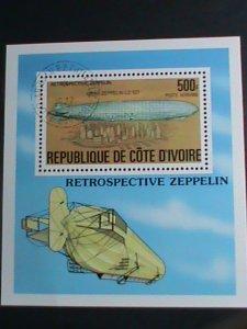 Ivory Coast Stamp-1977:SC#C63 Retrospective Zeppelin CTO-S/S sheet