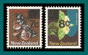 New Zealand 1977 Moth Surcharges, MNH #630-631,SG1143-SG1144