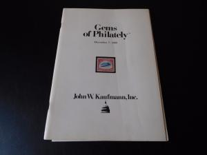 Stamp Auction Catalog December 1985 John W Kaufmann Gems of Philately with PR