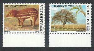 Uruguay Paca paca and Prosopis affinis 2v with margins SG#2855-2856 MI#2769-2770