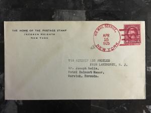 1925 USS Los Angeles New York City USA to Warwick Bermuda Zeppelin Airship Cover