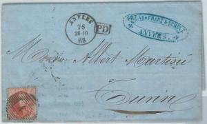 69865 - BELGIUM - POSTAL HISTORY -  COVER from ANVERS Antwerp  to  ITALY  1863