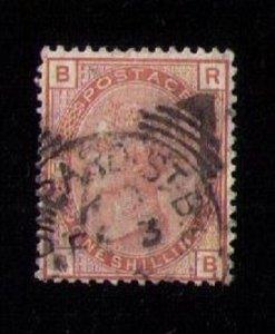 SG163, 1 Shilling  Orange-Brown Plate 14, F-VF Used. CV $180.00