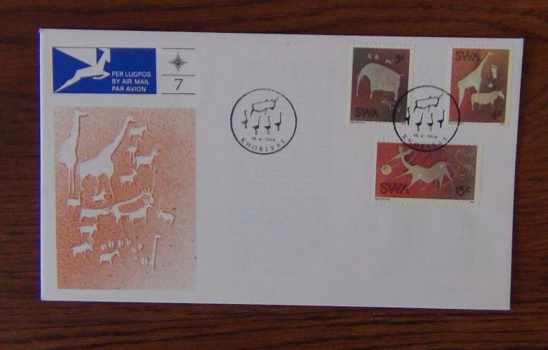 South West Africa 1974 Twyfelfontain Rock Engravings on First Day Cover