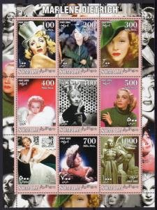 Somalia 2002 MARLENE DIETRICH German Actress Sheet Perforated Mint (NH)