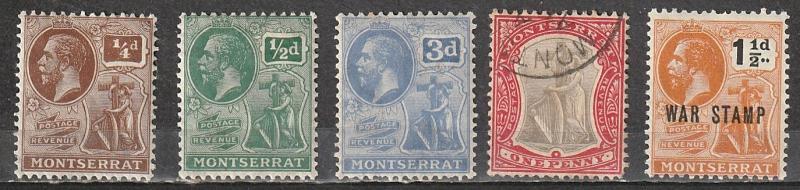 Montserrat Mint OGH & Used lot of 5