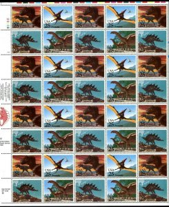 Dinosaurs Sheet of Forty 29 Cent Postage Stamps Scott 2422-25