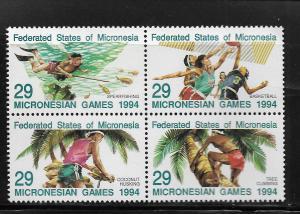 MICRONESIA, 192, MNH, BLOCK OF 4, SPORTS