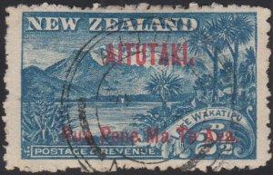 Aitutaki 1903 used Sc 3 Red overprint on 2 1/2p Lake Wakatipu Perf 11
