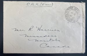 1941 Canadian Army Overseas Field Post 314 Cover To Manitoba Canada