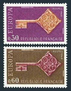 France 1209-1210,MNH.Michel 1621-1622 EUROPE CEPT-1968,Golden Key.