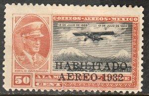 MEXICO C44, CAPT. E. CARRANZA HABILITADO 1932.UNUSED, NO GUM. F. (812)