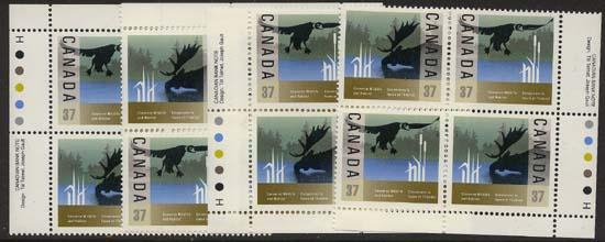Canada USC #1205a Mint VF-NH 37c Wildlife MS of Imprint Blocks