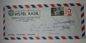 Venezuela Airmail Cover To USA Registered 1976 Hotel Rasil Sc# 1147 1130