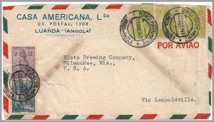Angola (Portugal) 1947 CERES (5) airmail cover to USA - Casa Americana, Lda.