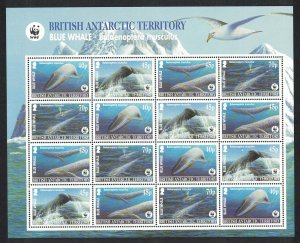 BAT WWF Blue Whale Sheetlet of 4 sets Pale-blue background SG#361-364 MI#353-356