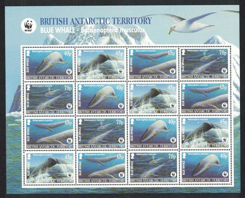 BAT WWF Blue Whale Sheetlet of 4 sets Pale-blue background 2003 MNH