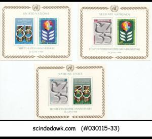 UNO UNITED NATIONS - 1980 35th ANNIVERSARY - SOUVENIR SHEET - MINT NH 3nos