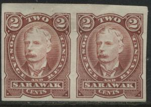 Sarawak 1895 2 cents brown imperf pair with slight vertical crease mint o.g (JD)