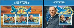 Guinea 2013 Paul Harris rotary famous persons klb+s/s MNH