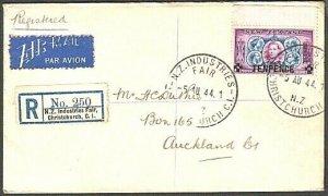 NEW ZEALAND 1944 reg cover NZ INDUSTRIES FAIR CHRISTCHURCH.................17341