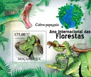 Mozambique MNH S/S Parrot Boa Snakes 2011