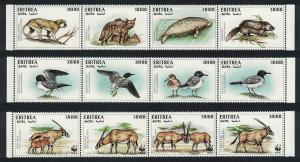 Eritrea WWF Beisa Oryx 12 stamps strips including 8 without WWF logo SG#319-330