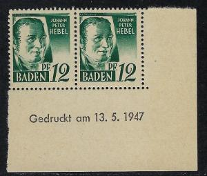 Germany - under French occupation Scott # 5N4, mint nh, pair, var print day+gum